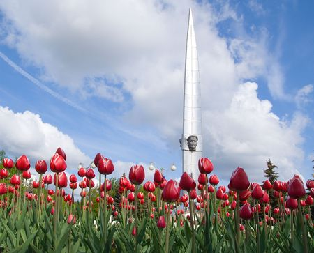 ladscape with monument and tulips on blue sky background Stock Photo - 3275021
