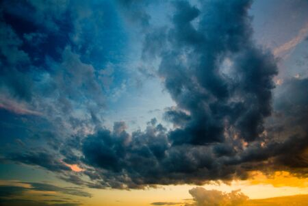 colorful dramatic sky with cloud at sunset Stock Photo - 3399981