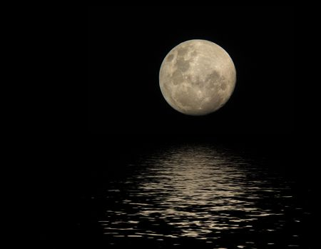 full moon with reflection in water surface Stock Photo - 3584690