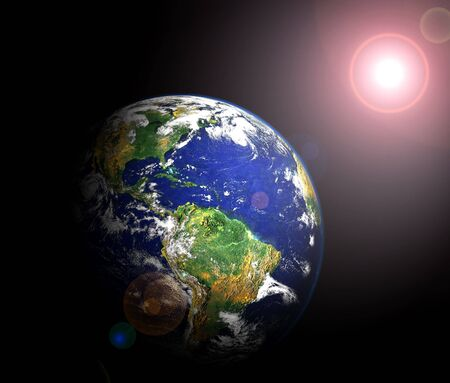 view of earth and sun from orbit (image of earth taken from http:visibleearth.nasa.gov)