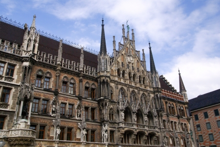 townhall: photo of Facade of the famous Townhall  Munich