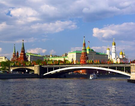 landscape with view of Moscow river and Kremlin embankment
