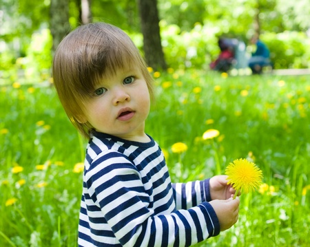 Little toddler girl walk outdoor and holding yellow flower dandelions photo
