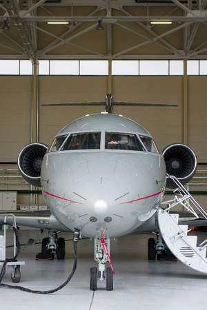 Luxury Business Private Jet in hangar
