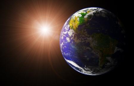 voir la terre et le soleil de l'image spatiaux en orbite de la terre prise sur http visibleearth gou nasa Banque d'images