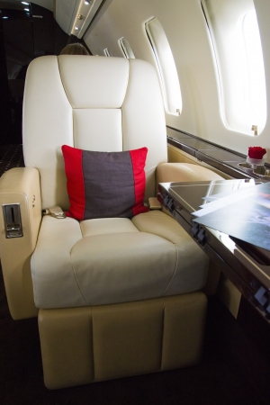transport interior: VIP Business Jet Interior with leather chair