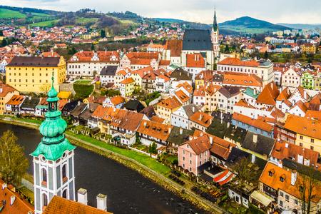 Spring panorama aerial view of Cesky Krumlov. Czech republic photo