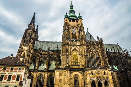 storm background: St. Vitus Cathedral on the grounds of Prague Castle in Prague, Czech Republic.