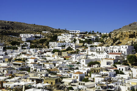 dodecanese: Traditional village of Lindos at Rhodes island of Dodecanese in Greece