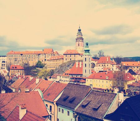 Spring panorama aerial view of Cesky Krumlov . Czech republic Stock Photo