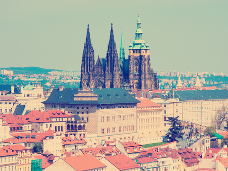 Old Prague panorama with sityscape of Hradcany, St. Vitus Cathedral and red roofs czech republic