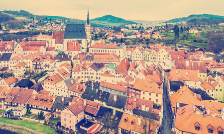Spring panorama aerial view of Cesky Krumlov. Czech republic Stock Photo