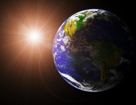 Vista De La Tierra Y El Sol De La Imagen Del Espacio órbita De La Tierra  Tomada Desde Http Visibleearth Nasa Gov Fotos, Retratos, Imágenes Y  Fotografía De Archivo Libres De Derecho.