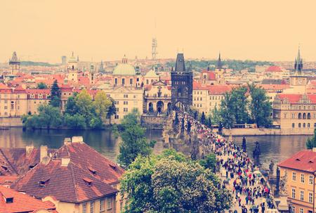 Scenic View of the famous Prague bridges