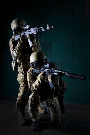 Portrait of a special forces soldiers. The concept of military units. Computer games.