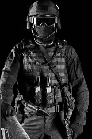 Portrait of a special forces soldier. The concept of military units. Computer games. Black and white photo Foto de archivo