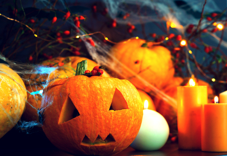 preparing for Halloween, cleaning and carving faces from pumpkins, pumpkins on a dark table with cobwebs and bokeh of lights, with bats from umagi and spiders, the concept of the feast of all saints ' day