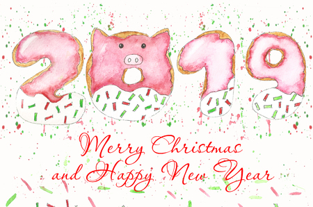 quick watercolor sketch with Christmas donuts and sweets. Happy New Year Posters. Cute Pig symbol of 2019. Greeting Card banner, Invitation, Poster Template, holiday illustration Stock Photo