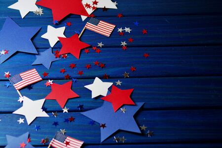 Flag, stars and serpentine on July 4,happy independence day, patriotism, memory of veterans , the concept of independence day of America, USA.
