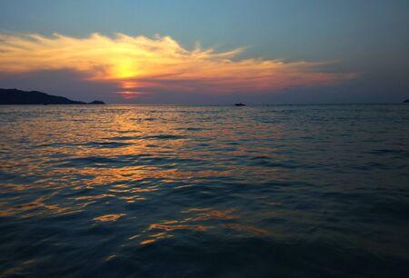 Orange , Golden sunset on the sea , beach view.