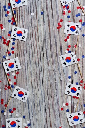 Independence Day of South Korea concept with flag on white wooden background top view Фото со стока