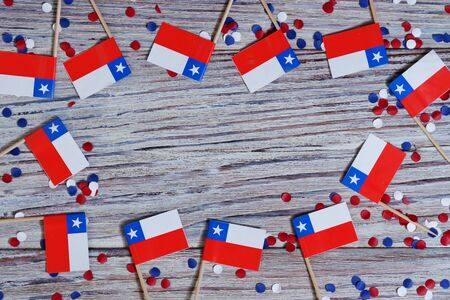 Chile hanging flag for honour of veterans day or memorial day. Chile glory to the heroes of war concept.