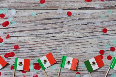 Mexican Flag with dramatic lighting, Independence day, cinco de mayo celebration Banco de Imagens