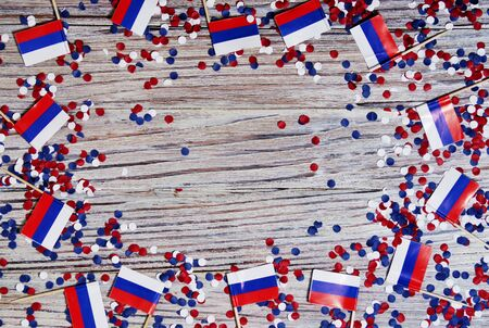 Independence Day of Russia concept with flag on white wooden background top view Banco de Imagens