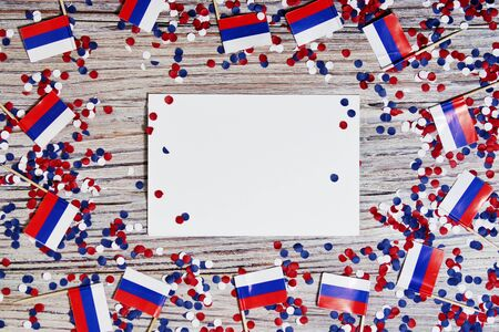 Independence Day of Russia concept with flag on white wooden background top view Banco de Imagens - 128259153