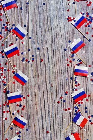 Independence Day of Russia concept with flag on white wooden background top view Standard-Bild