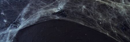 Cobweb or spiders web against a black background, to be used as overlay for Halloween designs. Banco de Imagens