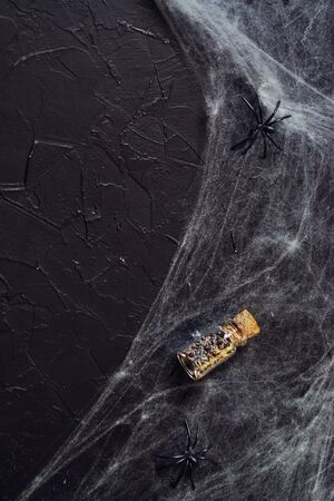 Frightful still life for Halloween, on wooden background. Banco de Imagens
