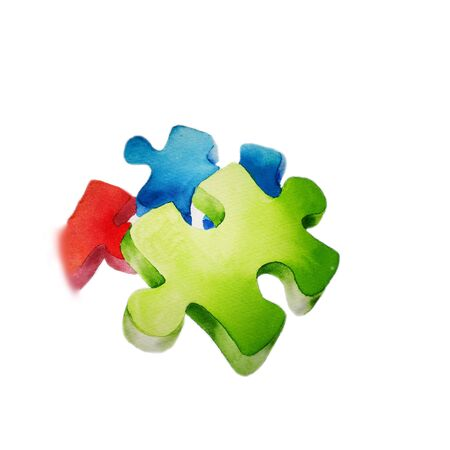 watercolor sketch symbol of World Autism Awareness Day, colorful puzzles