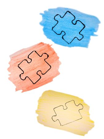 watercolor sketch, autism awareness day, colorful puzzles. April 2