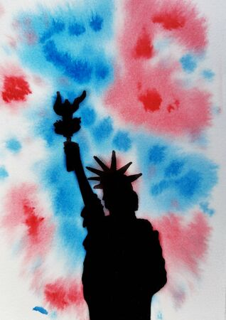 American independence Day, celebration, patriotism and holiday concept-watercolor background and Silhouette of the statue of liberty. Happy 4th of July, memorial day. illustration Reklamní fotografie