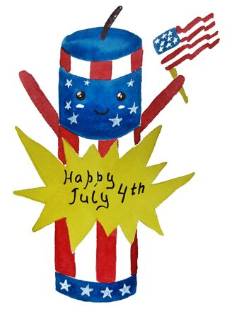 American independence Day, celebration, patriotism and holiday concept-watercolor sketch, Happy July 4, memorial day. illustration for postcards