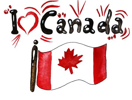 Canada independence day, celebration, patriotism and holiday concept-watercolor sketch, country flag, Happy July 1, Canada memorial day. illustration for postcards and t-shirt printing