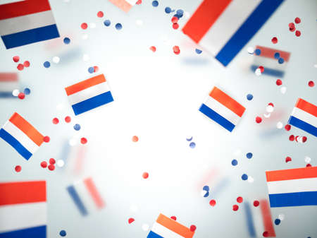 Netherlands King's birthday, liberation day. flags on a foggy background. The concept of freedom, patriotism and memory. National Unity and Solidarity Day