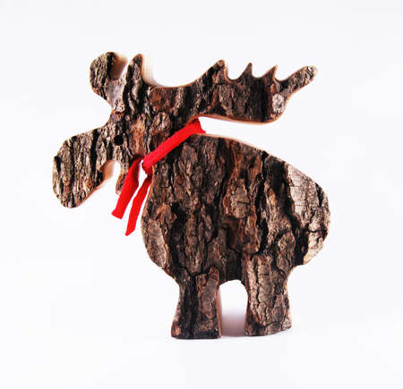 made by hand: hand made wooden moose Stock Photo