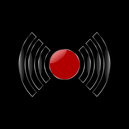 Vector image of black-red metal alarm icons with highlights on black background
