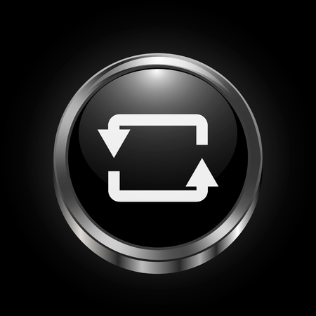 Vector image of white Rotation Arrow on black metalic button on black gradient background