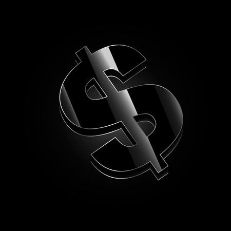 Vector image of black dollar with highlights on a black background