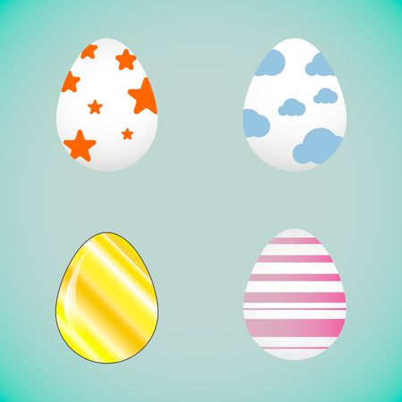 Vector image of easter eggs on abstract background