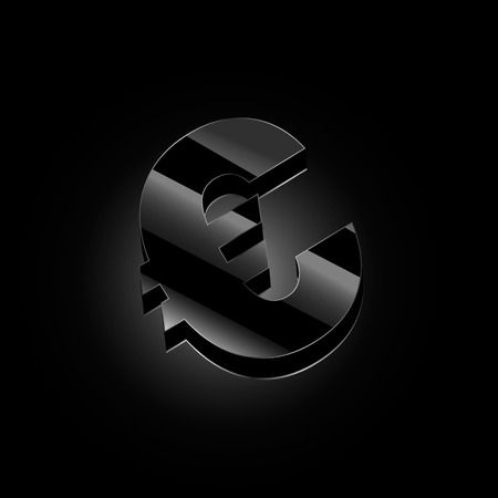 Vector image of black euro with highlights on a black background