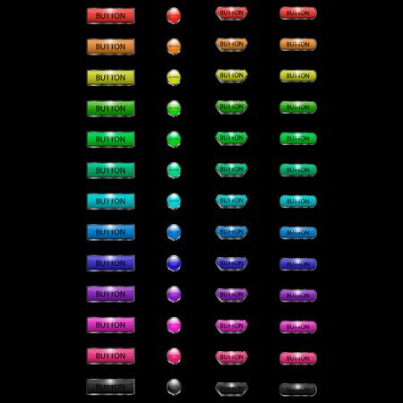 Image vectorielle d'un ensemble de boutons web multicolores volumétriques