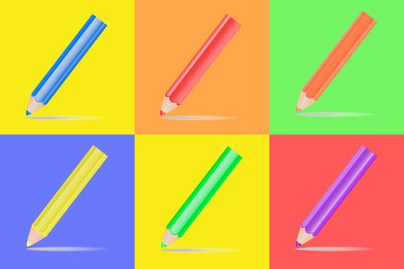 Vector image of multicolored bright pencils design