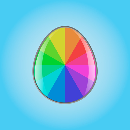 Vector image of a rainbow easter egg on a blue background Иллюстрация