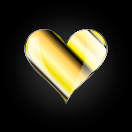 Vector image of a heart of gold on a black background Иллюстрация