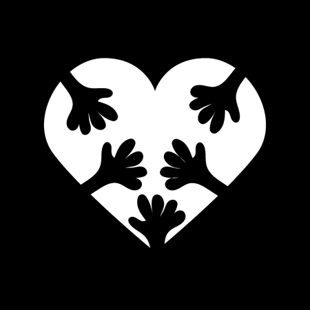 Vector icon of white heart with many hands hugging it on black background