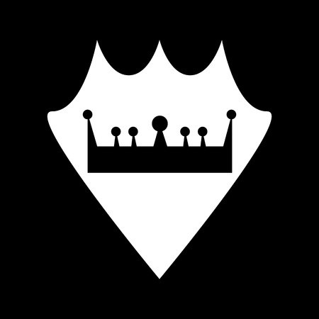 Vector icon of white shield with a crown icon on it on a black background